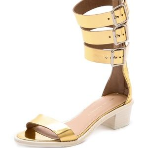 Loeffler Randall Gold Maude Stacked Heel Sandals